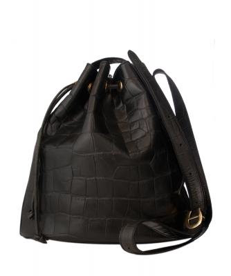Etienne Aigner Black Leather Croc-Embossed Bucket Bag - Etienne Aigner