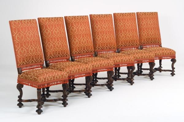 Zes Vlaamse Louis XIV stoelen