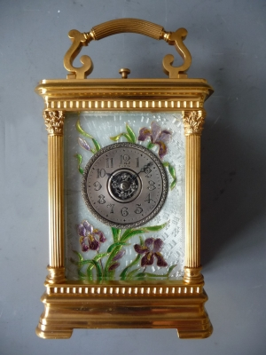 A charming Art Nouveau carriage clock by Charles Oudin, no 8919, enamel decorations, alarm and striking,  Paris ca. 1890.