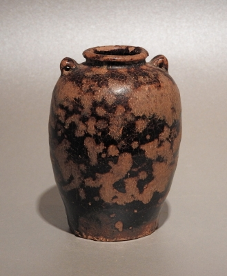 Unusual Chinese small stoneware jarlet with 'tortoise shell' glaze. Jizhou kilns Song/Yuan period 13th-14th c CE