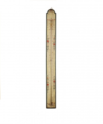 A French polychrome painted stick barometer, circa 1800
