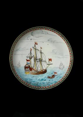 Chine-de-Commande bord met VOC-schip 'Zeeland'