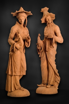 Pair of German Chinoiserie Terracotta Sculptures Representing Two Malabars
