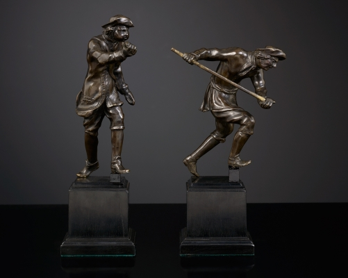 Pair of Dutch Bronze Statuettes of Hunters