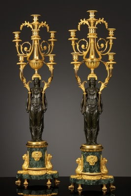 Paar Grote Franse Empire Kandelabers