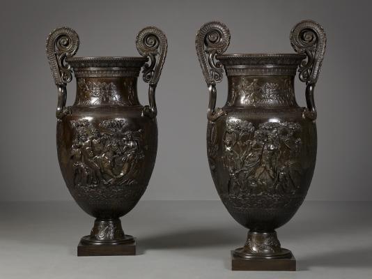 Pair of Large Bronze Volute Kraters, Jean-Désiré Ringel d'Illzach