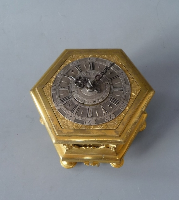 Hexagonal table clock by  Cabrier, London circa 1760.