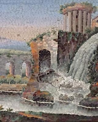 Grand Tour micromozaïek: Vesta tempel in Tivoli
