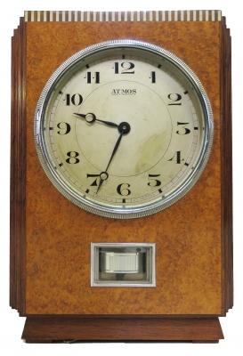M217 Houten Atmos klok, Amboyna wortelnoot, J.L. Reutter, model LG I, Nr 144