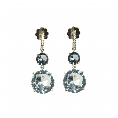 Artur Scholl 18 Carat White Gold Sky Blue Topaz Diamond Earrings