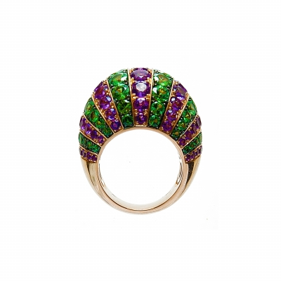 Artur Scholl 18 Carat Rose Gold Amethist & Tsavorite Dress Ring