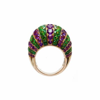Artur Scholl 18 Carat Rose Gold Amethist & Tsavorite Dress Ring - Artur Scholl