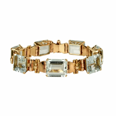 18 Carat Rose Gold and Aquamarine Bracelet