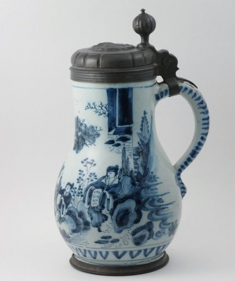 A Dutch Delft Blue and White Pewter Mounted Tankard