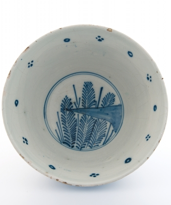 A Blue and White Dutch Delft Deep Bowl