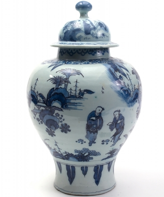 A  Vase in Blue Dutch Delftware