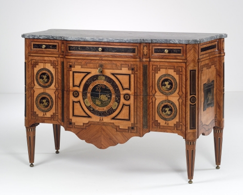 Dutch Louis XVI Commode with Lacquered Panels