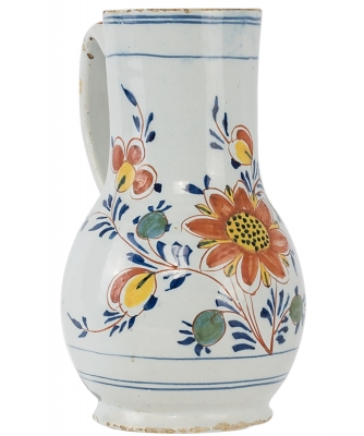 A Polychrome Decorated Jug In Dutch Delftware
