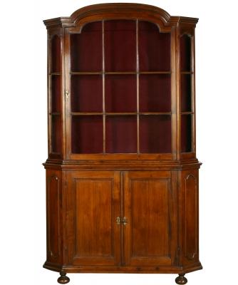 A Dutch Display Walnut Display Cabinet