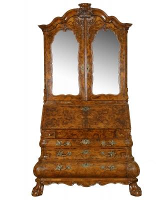 A Fine Burr Walnut Bureau with Top, also known as a Mirrortop Bureau