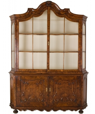 A Louis XIV Burr Walnut  Display Cabinet