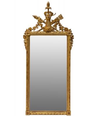 A Rectangular Louis XVI Giltwood Mirror
