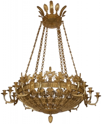 A Fire Guilded Bronze Eighteen-Lights Russian Empire Chandelier