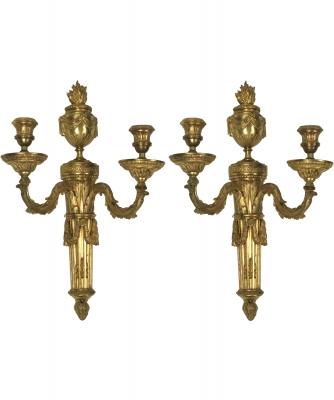 Een Paar Louis XVI Twee-Lichts Appliques