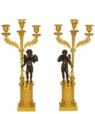 A Pair of Empire Candelabres in Guilded and Patinated Bronze