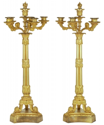 A Pair of Gilded Bronze Charles X Candelabra