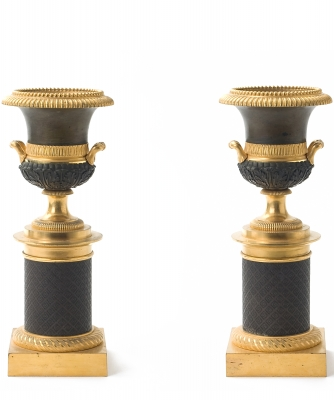A Pair Guilded and Patined Bronze Coupes