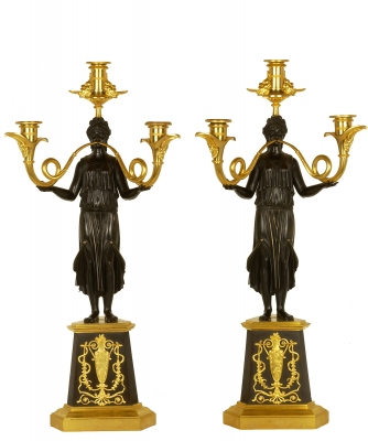 A Pair Guilded and Patined Bronze Empire Candelabers