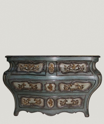 A Polychrome Decorated Louis XV Commode