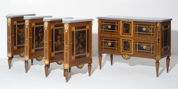 Dutch Louis XVI Ensemble, Consisting of a Commode and four Corner Cabinets