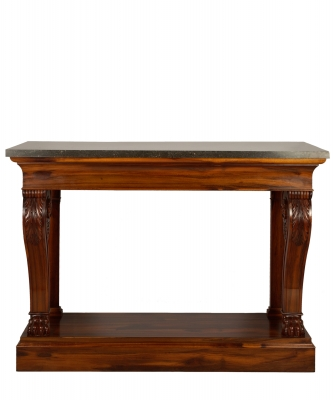 An Empire Mahogany Marble Topped Console Table