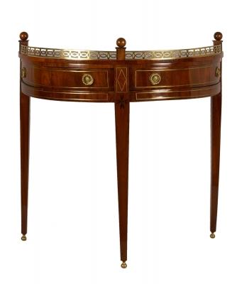 A Dutch Mahogany Demilune Side Table