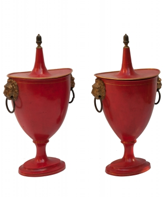 A Pair of French Red-and-Gold Tole Peinte Covered Chestnut Vases