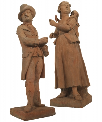 Een Paar Terracotta Straatmuzikanten