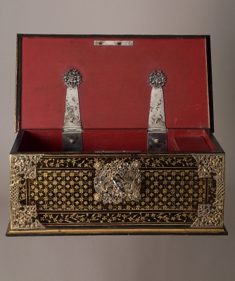 A Lacquer Black Box with Golden Decoration and Mounts