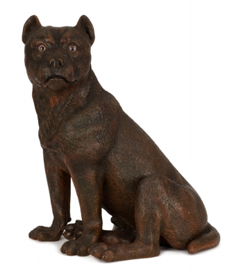 A Terracotta Figure of a Sitting Boxer