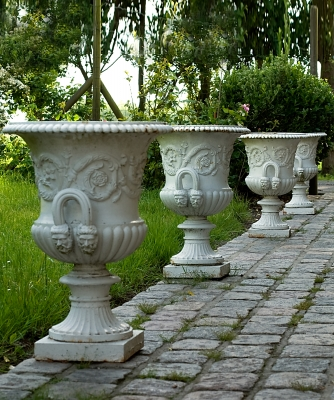 "Set of Four Cast Iron Campana ""De Medici"" Garden Vases"