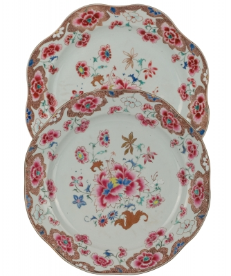 A Pair Famille Rose Dishes