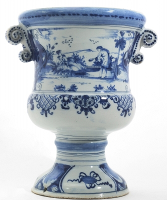 A Urn-shaped Jardinière in Blue and White Dutch Delftware