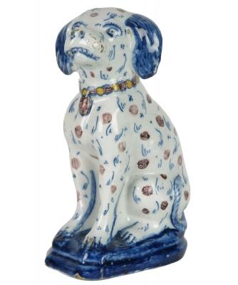 A Dutch Delft Polychrome Sitting Dog