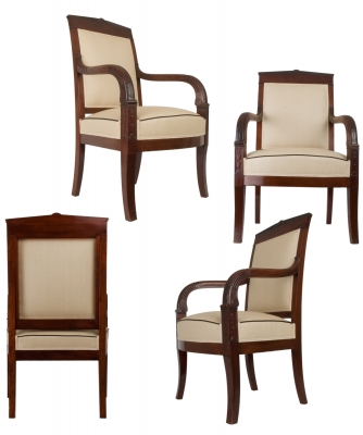 A Set of Two Empire Mahogany Armchairs
