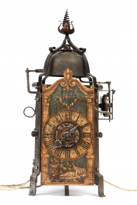 A good iron go and striking Gothic chamber clock with alarm dated 1608