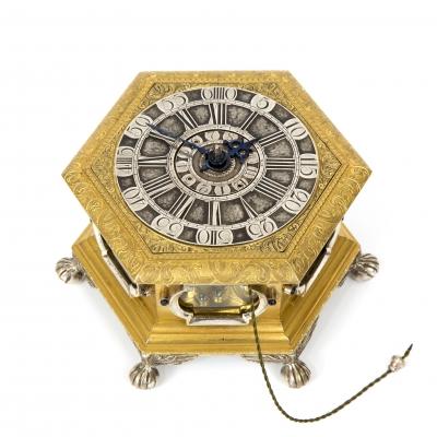 A German gilt and silvered hexagonal table clock, J.G. Kriedel Cottbus,1760