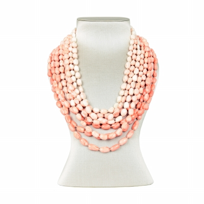 evaNueva Eight Row Coral Necklace