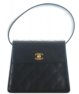 Vintage Chanel Black Caviar Quilted Mini Top Handle - Chanel