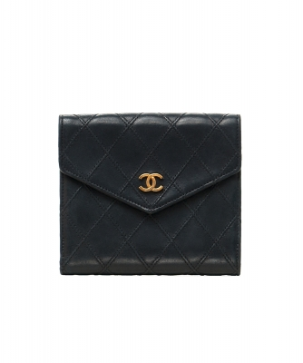 Chanel Black Leather Quilted Bifold Wallet - Chanel